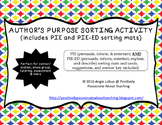 Author's Purpose Sorting Activity - PIE & PIE-ED