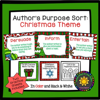 Author's Purpose Sorting: Christmas Themed