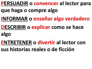 Author's Purpose - Spanish