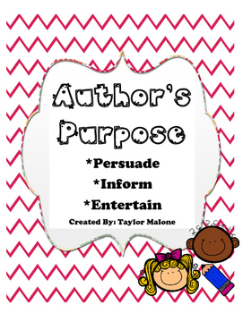Author's Purpose Student Response Sheets