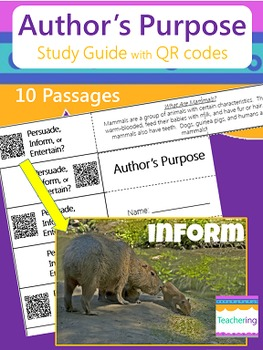 Author's Purpose Study Guide with QR Codes