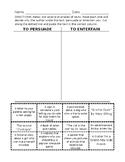 Author's Purpose T Chart Worksheet