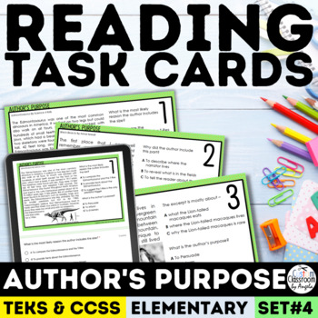 Author's Purpose Task Cards Grades 3-5