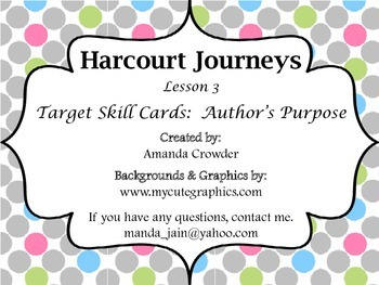 Author's Purpose Task Cards - Harcourt Journeys Reading Lesson 3