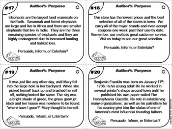 Author's Purpose Task Cards (PIE) 4th 5th 6th 7th Grade Reading Comprehension
