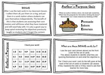 Author's Purpose Task Cards (TEKS ELA2.3C)