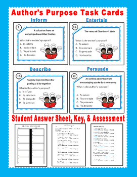 Author's Purpose Task Cards and Assessment