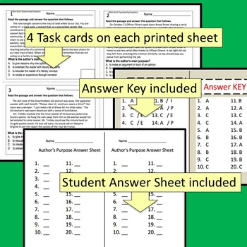 Author's Purpose Task Cards for High School and Middle School Set 2