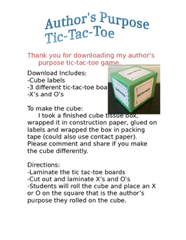 Author's Purpose Tic-Tac-Toe Game