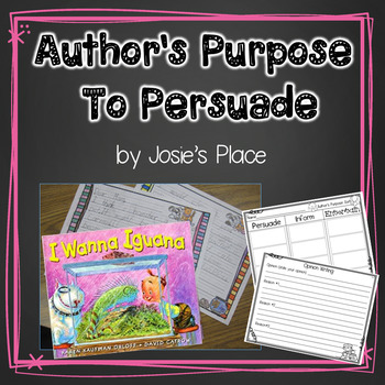 Author's Purpose - To Persuade with I Wanna Iguana