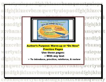 Author's Purpose Warm-up or Do Now Pages (log, bell-ringer