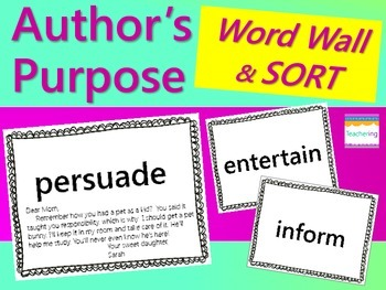 Author's Purpose Word Wall - Examples & SORT {Persuade, Inform, Entertain}