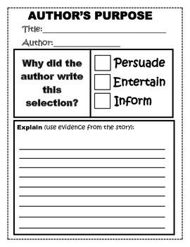 Author's Purpose Worksheet by Nicole Schwenk   Teachers ...