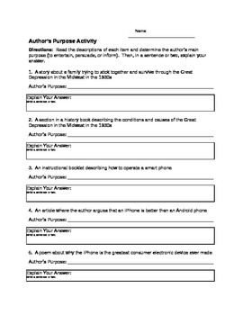 Author's Purpose Worksheet