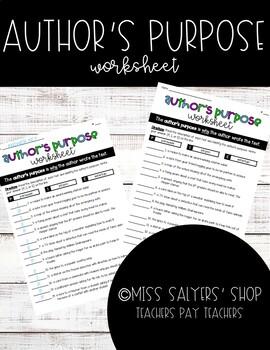 Author's Purpose Worksheet