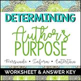 Author's Purpose Worksheet & Answer Key