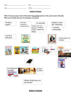 Author's Purpose Worksheet Cut and Stick