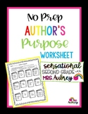 Author's Purpose Worksheet- Inform, Entertain, Persuade