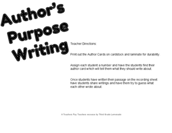 Author's Purpose Writing Activity