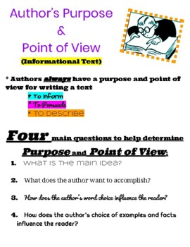 Author's Purpose and Point of View-Informational Text