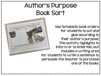 Author's Purpose book sort