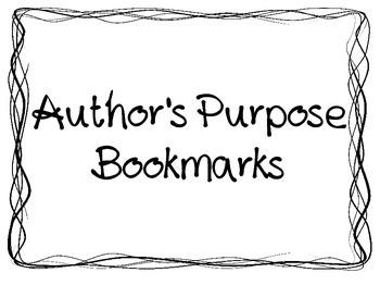 Author's Purpose bookmarks
