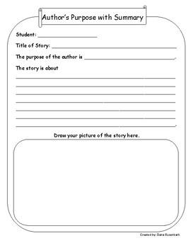 Author's Purpose with Summary Graphic Organizer