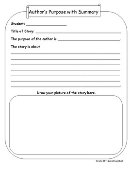 Author's Purpose with Summary Graphic Organizer