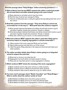 Author's Reasons and Evidence Quizzes -- Through the Eyes of the Children