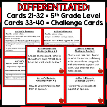 Author's Reasons and Evidence Task Cards