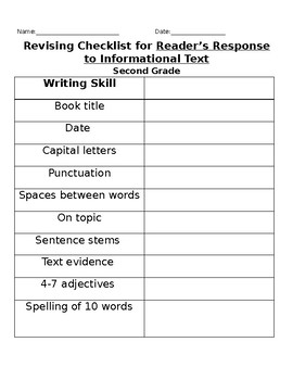 Author's Revising Checklist: Informational  *English and Spanish