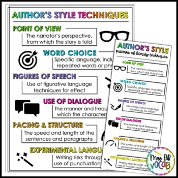 Author's Style Anchor Charts and Bookmarks!