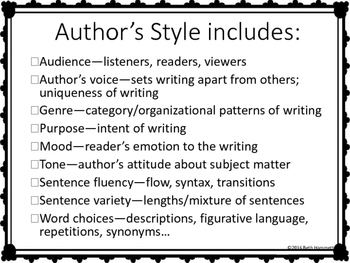 Author's Style and Types of Sentences