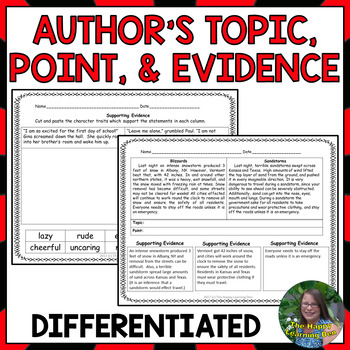 Author's Topic, Point, and Evidence