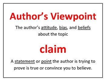 Author's Viewpoint/ Author's Claim: Common Core