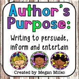 Author's purpose: writing to persuade, inform and entertain