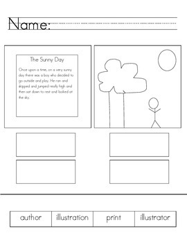 Author/Illustrator, Print/Illustration Worksheet or Assessment
