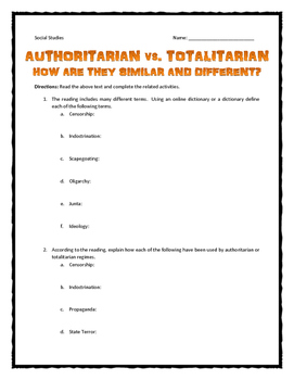 Authoritarian and Totalitarian - What's the difference?  (Reading/Questions)
