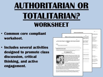 Authoritarian or Totalitarian? worksheet