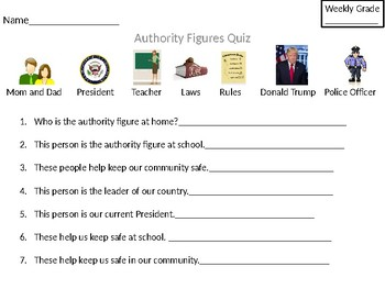 Authority Figures Worksheet