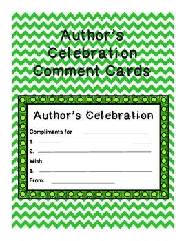 Author's Celebration Comment Cards