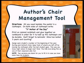 Writing Workshop:  Author's Chair Management Tool & Poster
