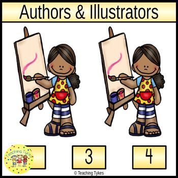 Authors & Illustrators Count and Clip Task Cards