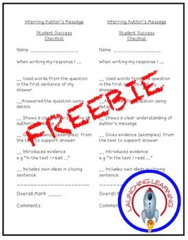 Author's Message Student Checklist