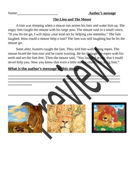 Author's Message The Lion and The Mouse