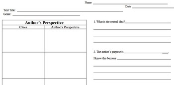 Author's Perspective - Author's Purpose, Theme, & Central Idea