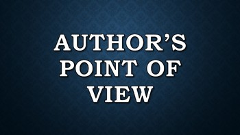 Author's Point of View Presentation/Posters