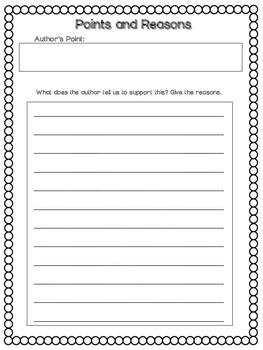 Author's Points and Reasons Graphic Organizer