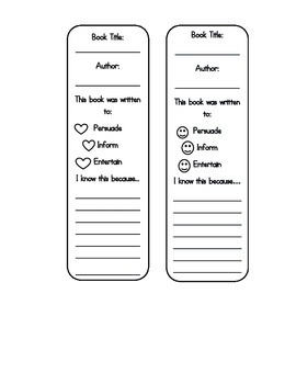 Author's Purpose Bookmarks