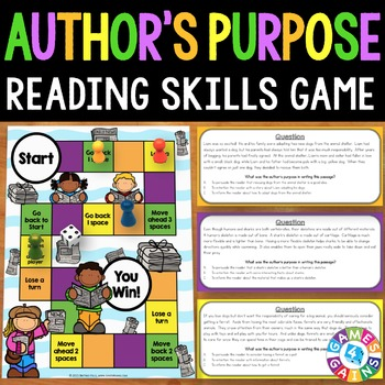 Author's Purpose Task Cards Game {Reading Comprehension Passages and Questions}